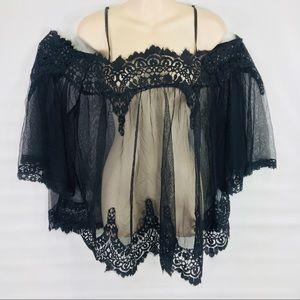 Victoria's Secret black sheer lace nightie size M
